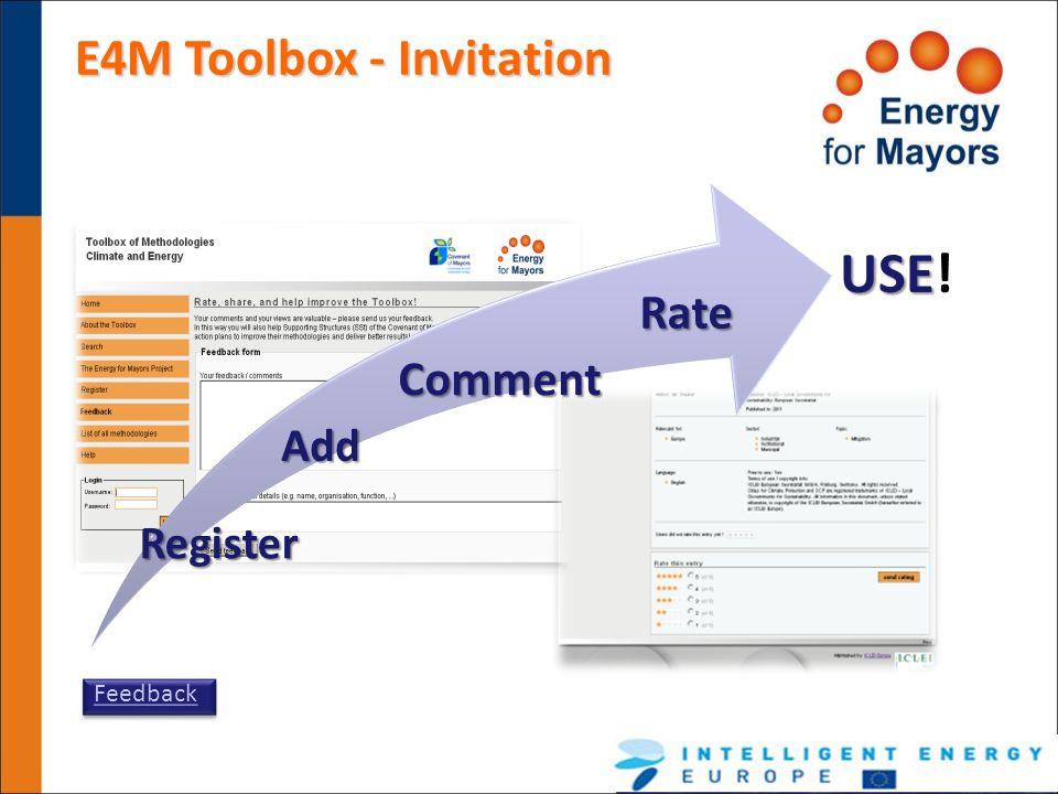 E4M Toolbox - Invitation Register AddComment Rate USE USE! Feedback