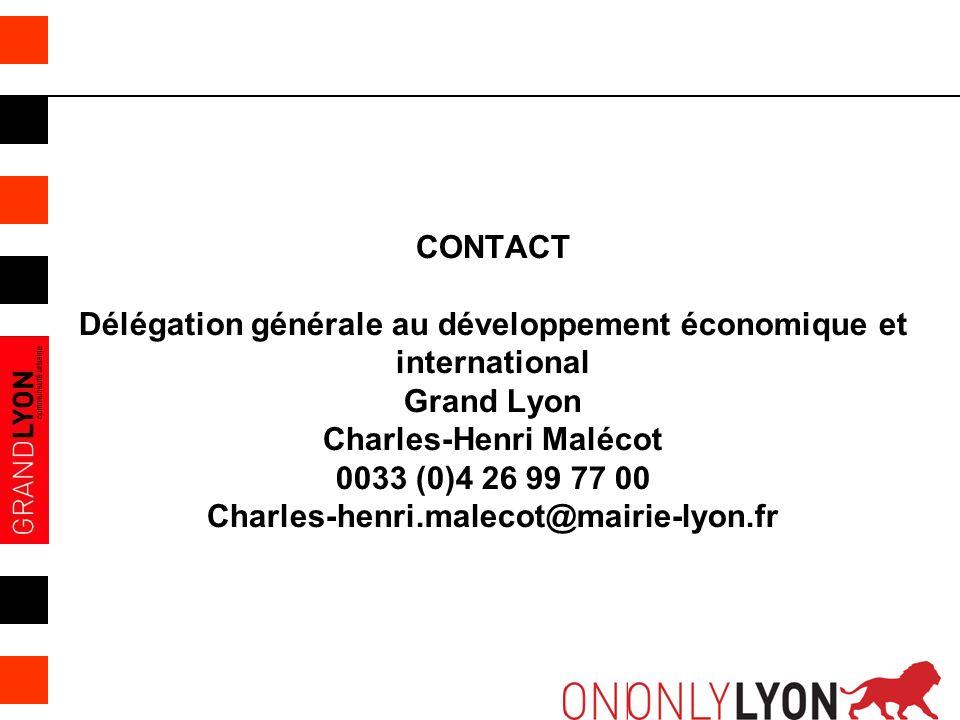10 CONTACT Délégation générale au développement économique et international Grand Lyon Charles-Henri Malécot 0033 (0)4 26 99 77 00 Charles-henri.malec