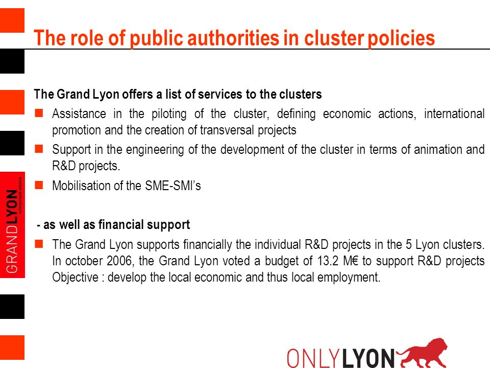 5 The role of public authorities in cluster policies The Grand Lyon offers a list of services to the clusters Assistance in the piloting of the cluste