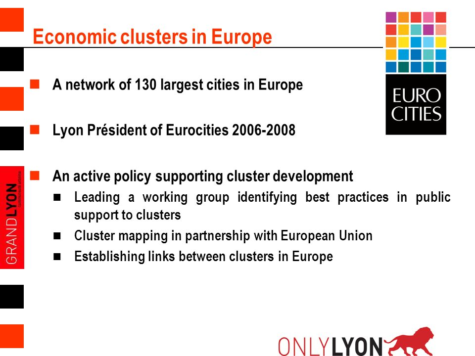 9 Economic clusters in Europe A network of 130 largest cities in Europe Lyon Président of Eurocities 2006-2008 An active policy supporting cluster development Leading a working group identifying best practices in public support to clusters Cluster mapping in partnership with European Union Establishing links between clusters in Europe