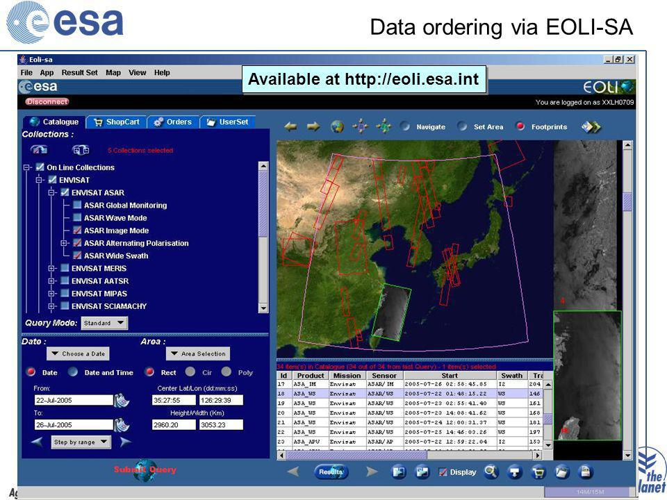 Joint EEA-PROMOTE user workshop – 13 June 2008 Data ordering via EOLI-SA Yesterday Available at