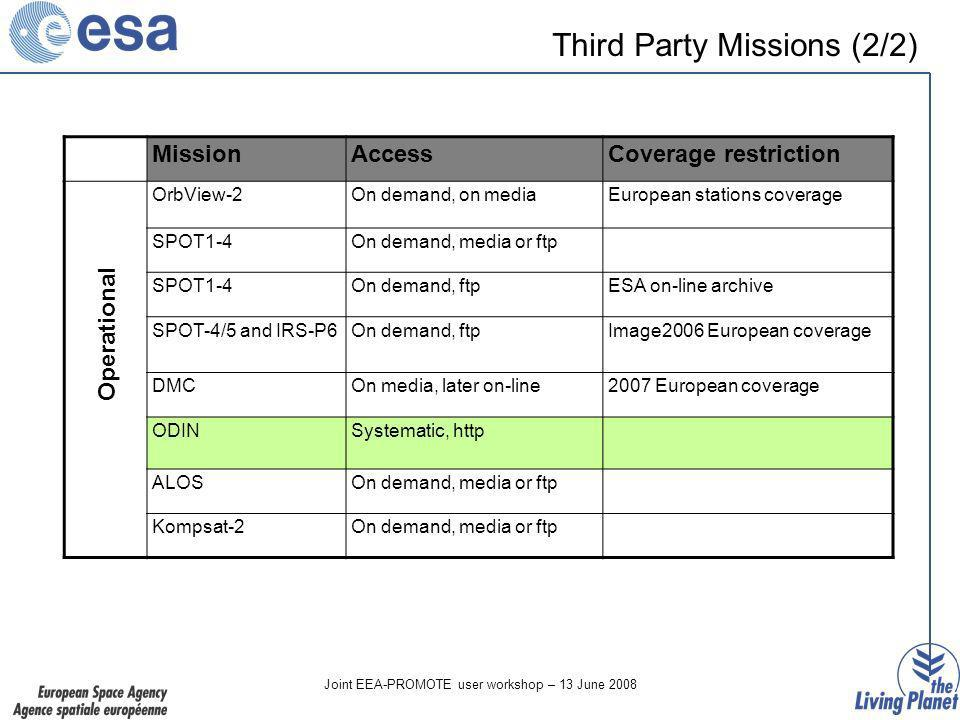 Joint EEA-PROMOTE user workshop – 13 June 2008 Third Party Missions (2/2) MissionAccessCoverage restriction OrbView-2On demand, on mediaEuropean stations coverage SPOT1-4On demand, media or ftp SPOT1-4On demand, ftpESA on-line archive SPOT-4/5 and IRS-P6On demand, ftpImage2006 European coverage DMCOn media, later on-line2007 European coverage ODINSystematic, http ALOSOn demand, media or ftp Kompsat-2On demand, media or ftp Operational