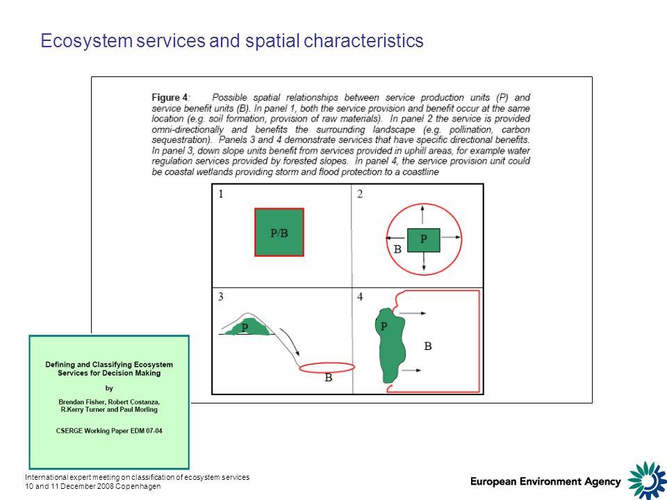 International expert meeting on classification of ecosystem services 10 and 11 December 2008 Copenhagen Ecosystem services and spatial characteristics