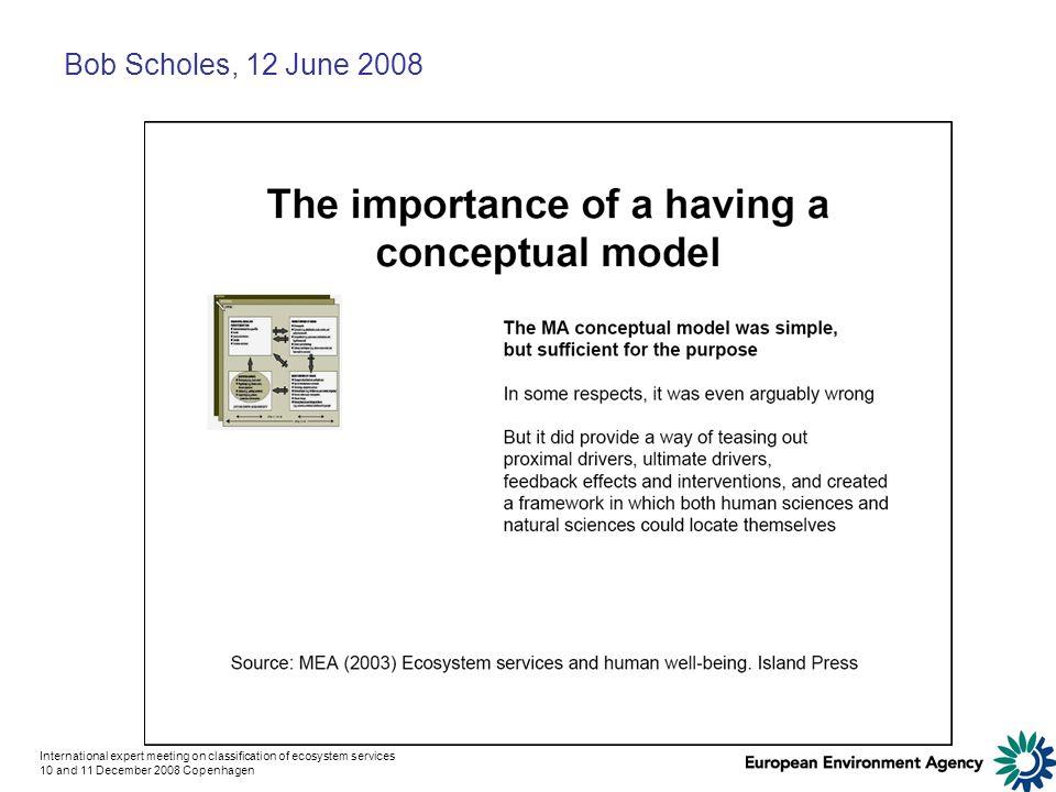 International expert meeting on classification of ecosystem services 10 and 11 December 2008 Copenhagen Bob Scholes, 12 June 2008