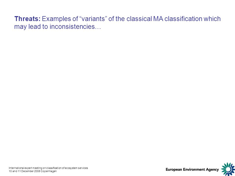 International expert meeting on classification of ecosystem services 10 and 11 December 2008 Copenhagen Threats: Examples of variants of the classical