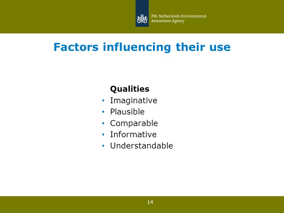 14 Factors influencing their use Qualities Imaginative Plausible Comparable Informative Understandable