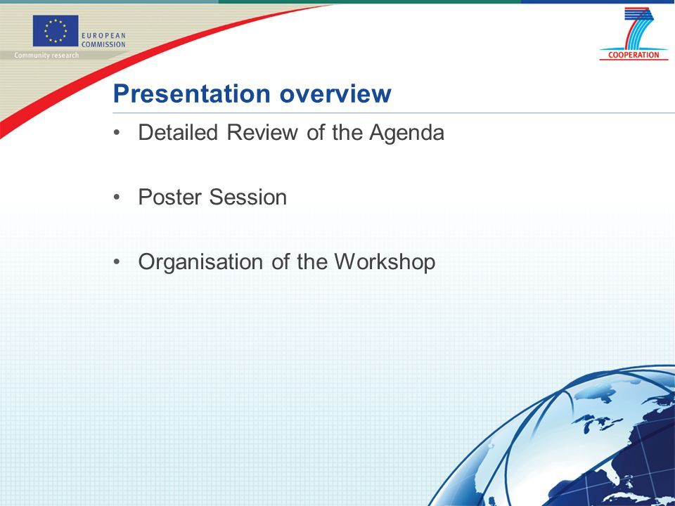 Detailed Review of the Agenda Poster Session Organisation of the Workshop Presentation overview