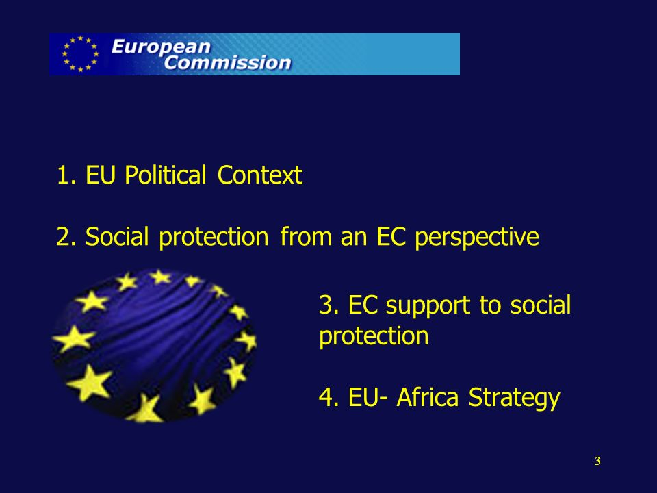 3 1. EU Political Context 2. Social protection from an EC perspective 3. EC support to social protection 4. EU- Africa Strategy