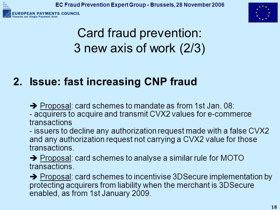 EC Fraud Prevention Expert Group - Brussels, 28 November 2006 18 Card fraud prevention: 3 new axis of work (2/3) 2.Issue: fast increasing CNP fraud Pr