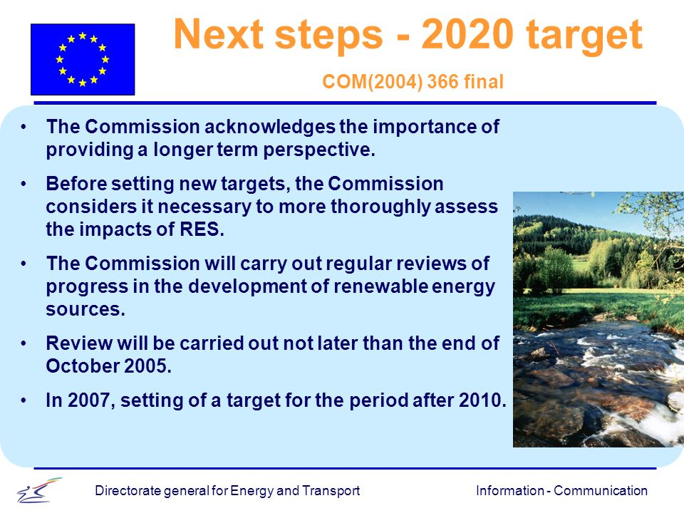Information - CommunicationDirectorate general for Energy and Transport Next steps - 2020 target COM(2004) 366 final The Commission acknowledges the importance of providing a longer term perspective.