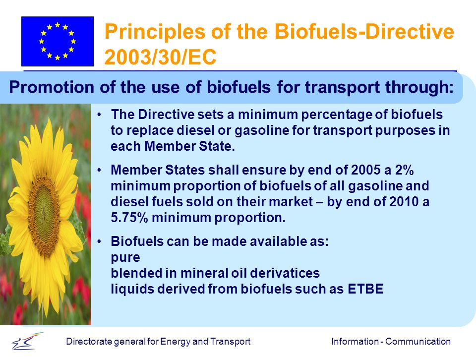 Information - CommunicationDirectorate general for Energy and Transport Principles of the Biofuels-Directive 2003/30/EC Promotion of the use of biofuels for transport through: The Directive sets a minimum percentage of biofuels to replace diesel or gasoline for transport purposes in each Member State.