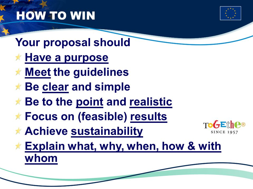 Your proposal should Have a purpose Meet the guidelines Be clear and simple Be to the point and realistic Focus on (feasible) results Achieve sustainability Explain what, why, when, how & with whom HOW TO WIN