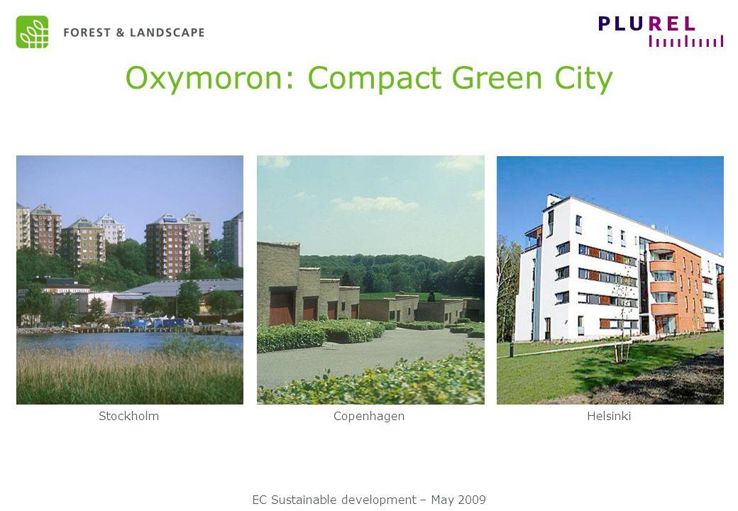 EC Sustainable development – May 2009 Oxymoron: Compact Green City StockholmCopenhagenHelsinki