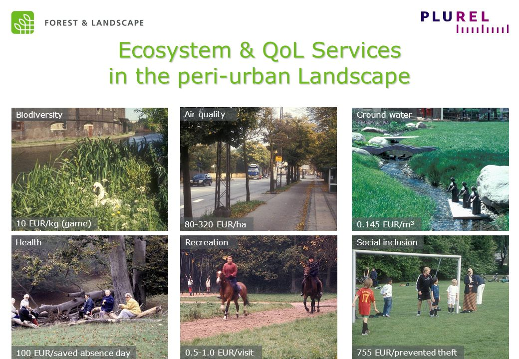 EC Sustainable development – May 2009 Ecosystem & QoL Services in the peri-urban Landscape 10 EUR/kg (game) 80-320 EUR/ha HealthRecreationSocial inclusion 0.145 EUR/m 3 Biodiversity Air quality Ground water 100 EUR/saved absence day 0.5-1.0 EUR/visit 755 EUR/prevented theft