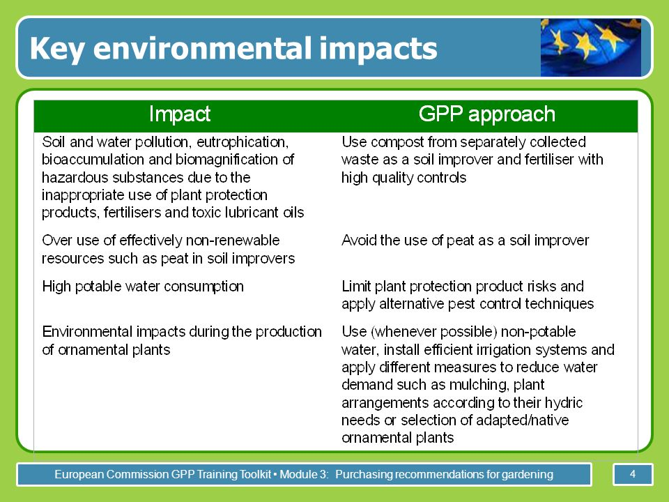 European Commission GPP Training Toolkit Module 3: Purchasing recommendations for gardening 4 Key environmental impacts