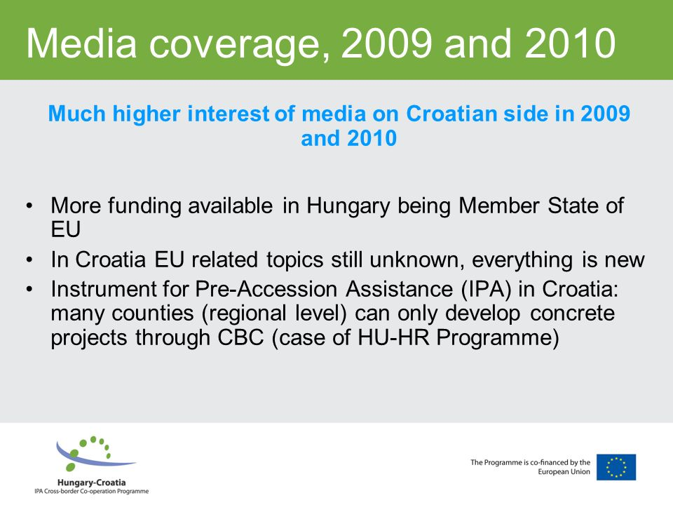 Media coverage, 2009 and 2010 Much higher interest of media on Croatian side in 2009 and 2010 More funding available in Hungary being Member State of