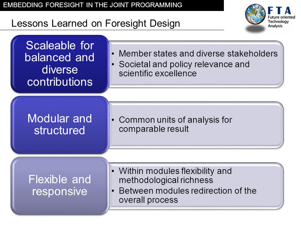 EMBEDDING FORESIGHT IN THE JOINT PROGRAMMING Lessons Learned on Foresight Design Member states and diverse stakeholders Societal and policy relevance
