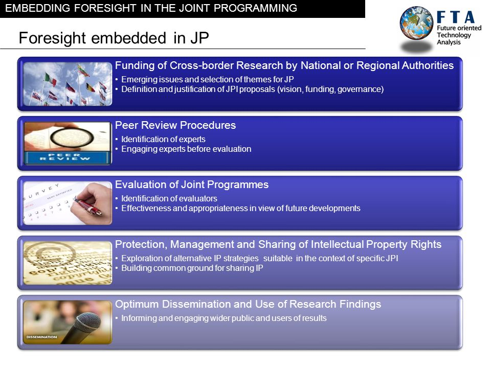 EMBEDDING FORESIGHT IN THE JOINT PROGRAMMING Foresight embedded in JP Funding of Cross-border Research by National or Regional Authorities Emerging is