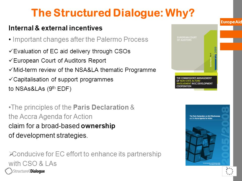 EuropeAid The Structured Dialogue: Why? Internal & external incentives Important changes after the Palermo Process Evaluation of EC aid delivery throu
