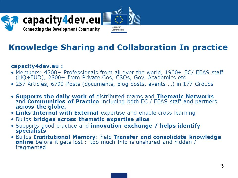 Knowledge Sharing and Collaboration In practice capacity4dev.eu : Members: Professionals from all over the world, EC/ EEAS staff (HQ+EUD), from Private Cos, CSOs, Gov, Academics etc 257 Articles, 6799 Posts (documents, blog posts, events …) in 177 Groups Supports the daily work of distributed teams and Thematic Networks and Communities of Practice including both EC / EEAS staff and partners across the globe.
