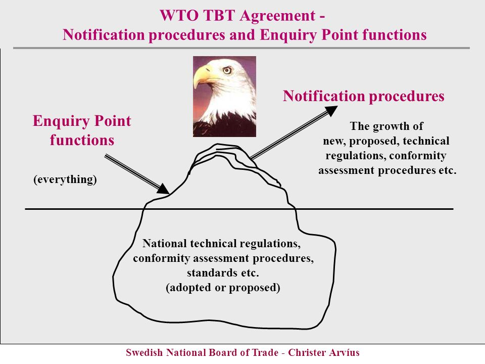 Swedish National Board of Trade - Christer Arvíus WTO TBT Agreement - Notification procedures and Enquiry Point functions National technical regulatio