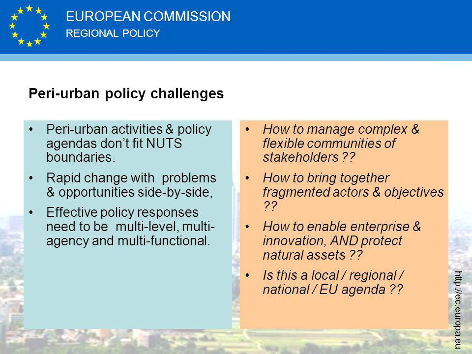 REGIONAL POLICY EUROPEAN COMMISSION   Peri-urban policy challenges Peri-urban activities & policy agendas dont fit NUTS boundaries.