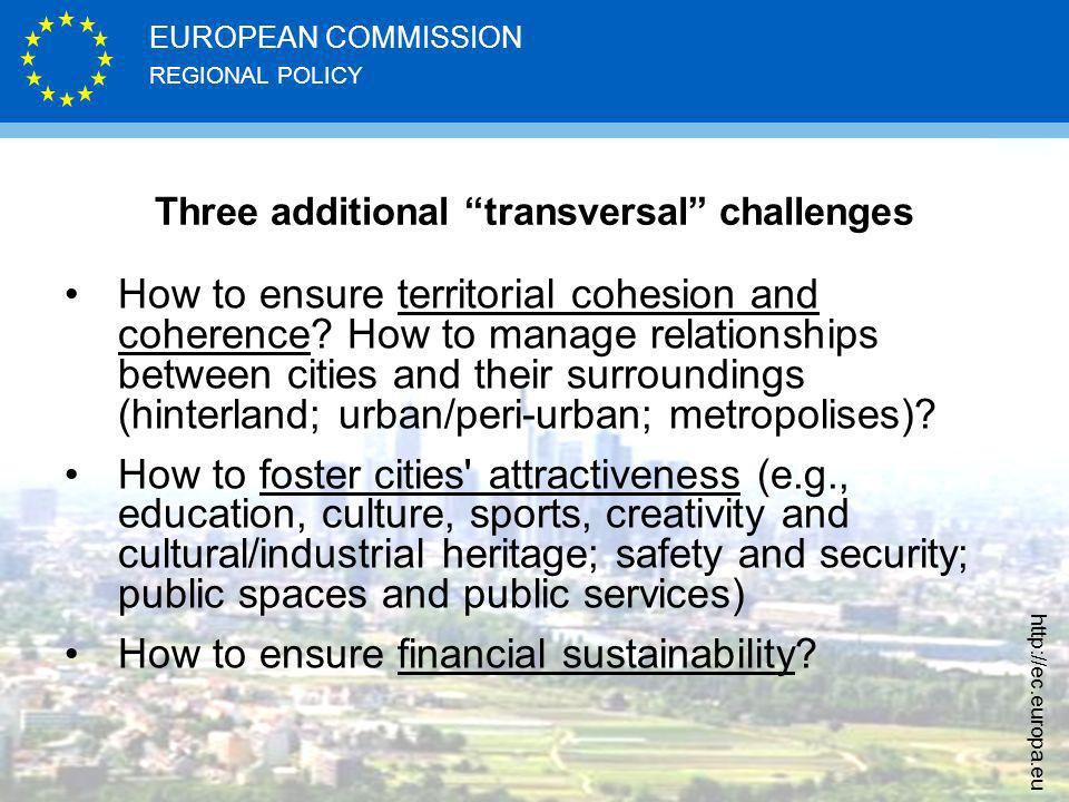 REGIONAL POLICY EUROPEAN COMMISSION http://ec.europa.eu Three additional transversal challenges How to ensure territorial cohesion and coherence.