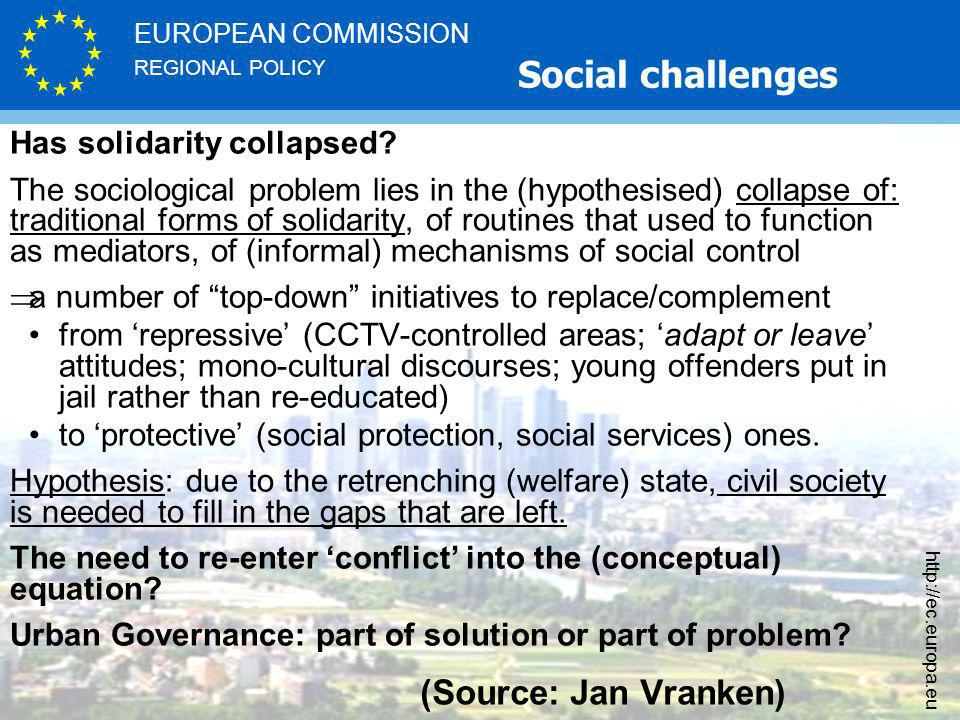 REGIONAL POLICY EUROPEAN COMMISSION   (Source: Jan Vranken) Has solidarity collapsed.