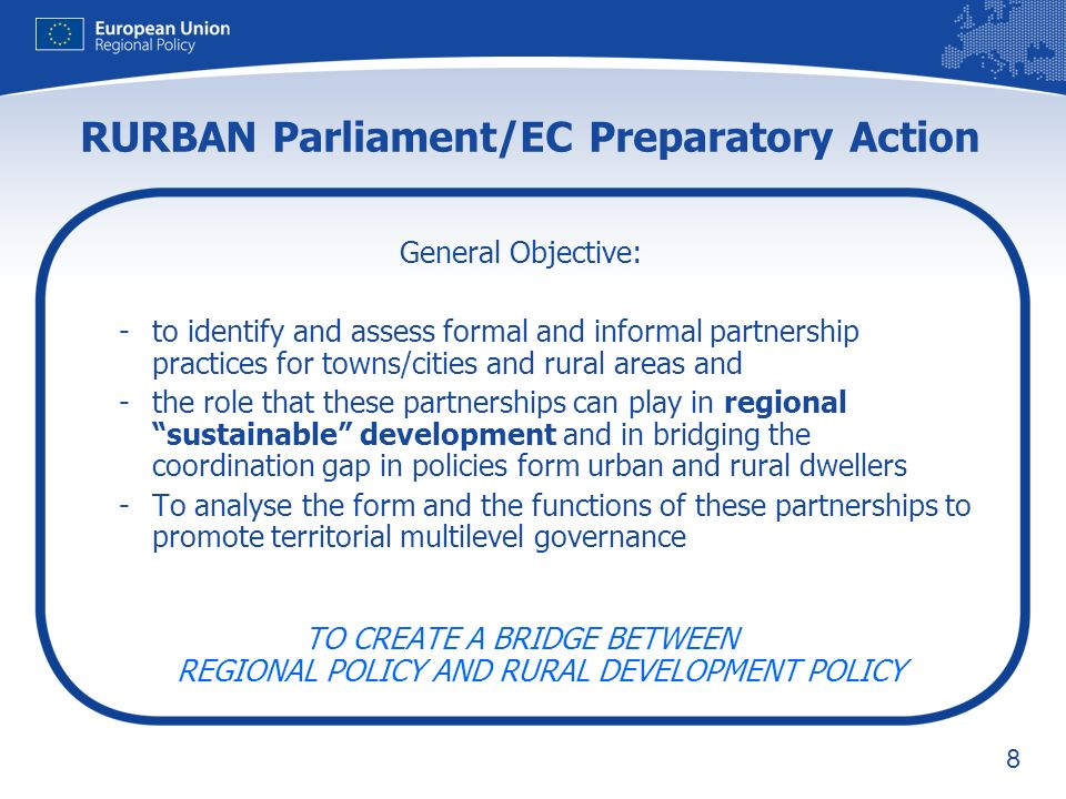 9 1.A preparatory study building up on existing bibliography (ESPON; OECD; DG Regio Seminars; TA) 2.A comprehensive study covering cases of urban-rural partnerships in the 4 main EU macro geographical areas (EC/OECD) 3.Analytical framework for defining functional regions (EC/OECD) 4.A final Conference + 2 regional workshops 5.One VIDEO showing main Rurban results Continuous dialogue with stakeholders (COTER, Eurocities, Metrex, Red, Purple) Two main actions: study & results diffusion