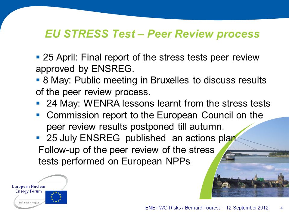 ENEF WG Risks / Bernard Fourest – 12 September 2012 | 4 EU STRESS Test – Peer Review process 25 April: Final report of the stress tests peer review ap