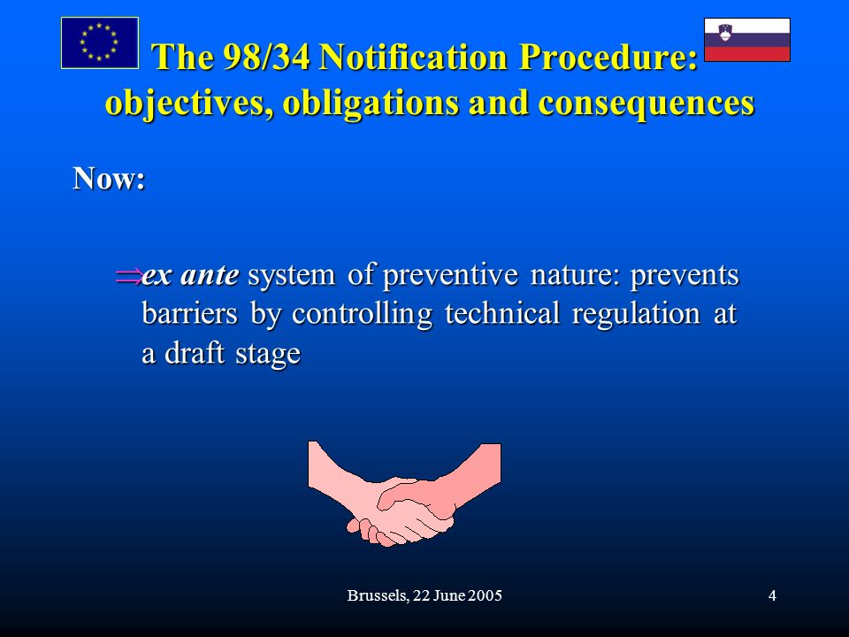 Brussels, 22 June 20054 The 98/34 Notification Procedure: objectives, obligations and consequences Now: ex ante system of preventive nature: prevents