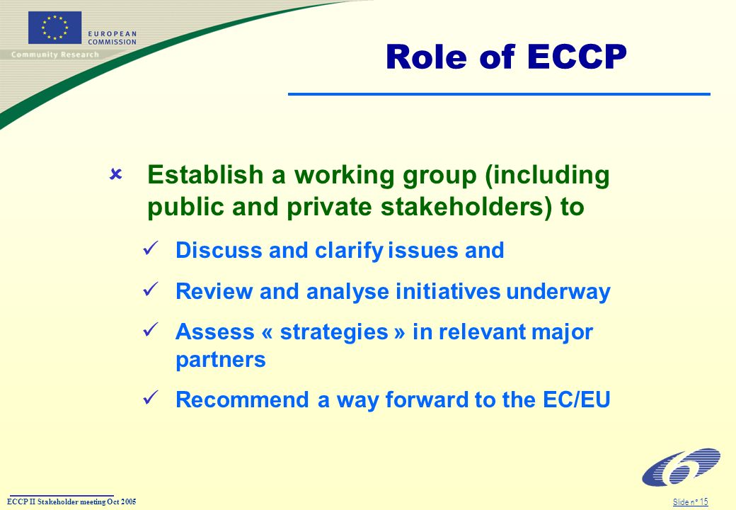 ECCP II Stakeholder meeting Oct 2005 Slide n° 15 Role of ECCP Establish a working group (including public and private stakeholders) to Discuss and cla
