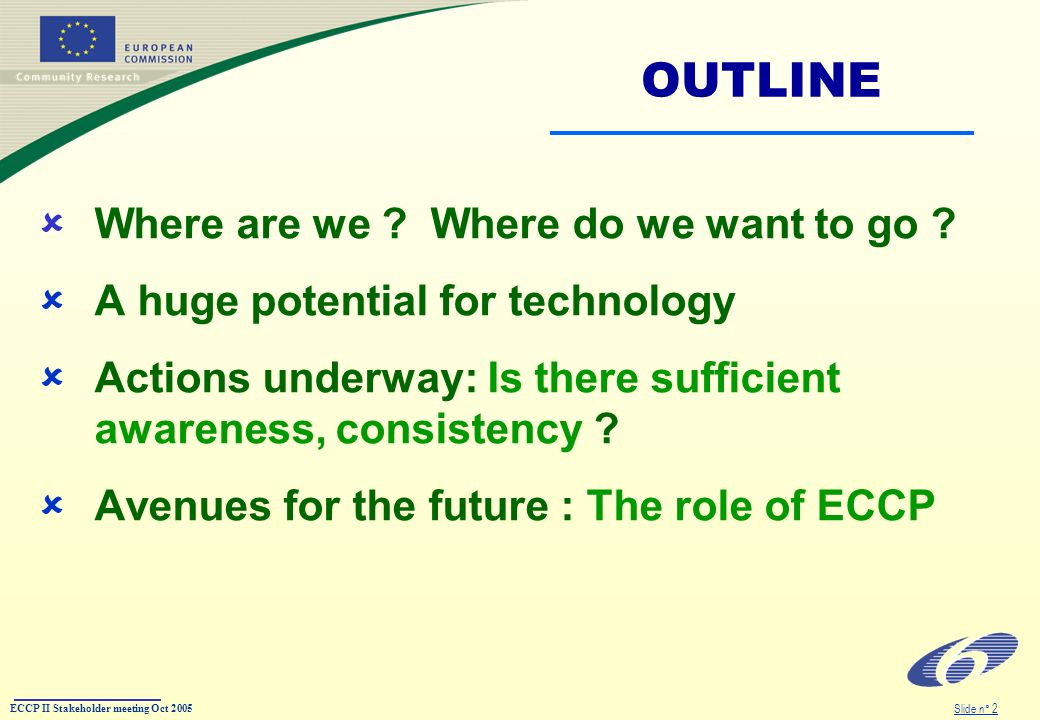 ECCP II Stakeholder meeting Oct 2005 Slide n° 2 OUTLINE Where are we .