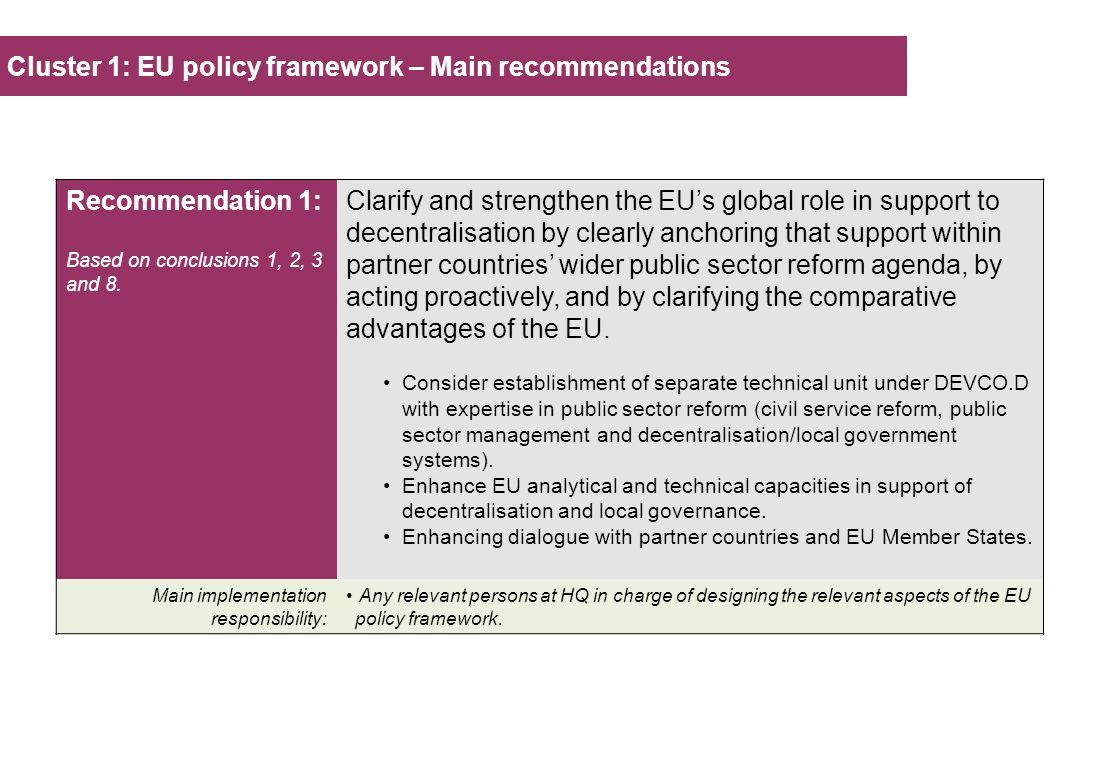 Cluster 1: EU policy framework – Main recommendations Recommendation 1: Based on conclusions 1, 2, 3 and 8.