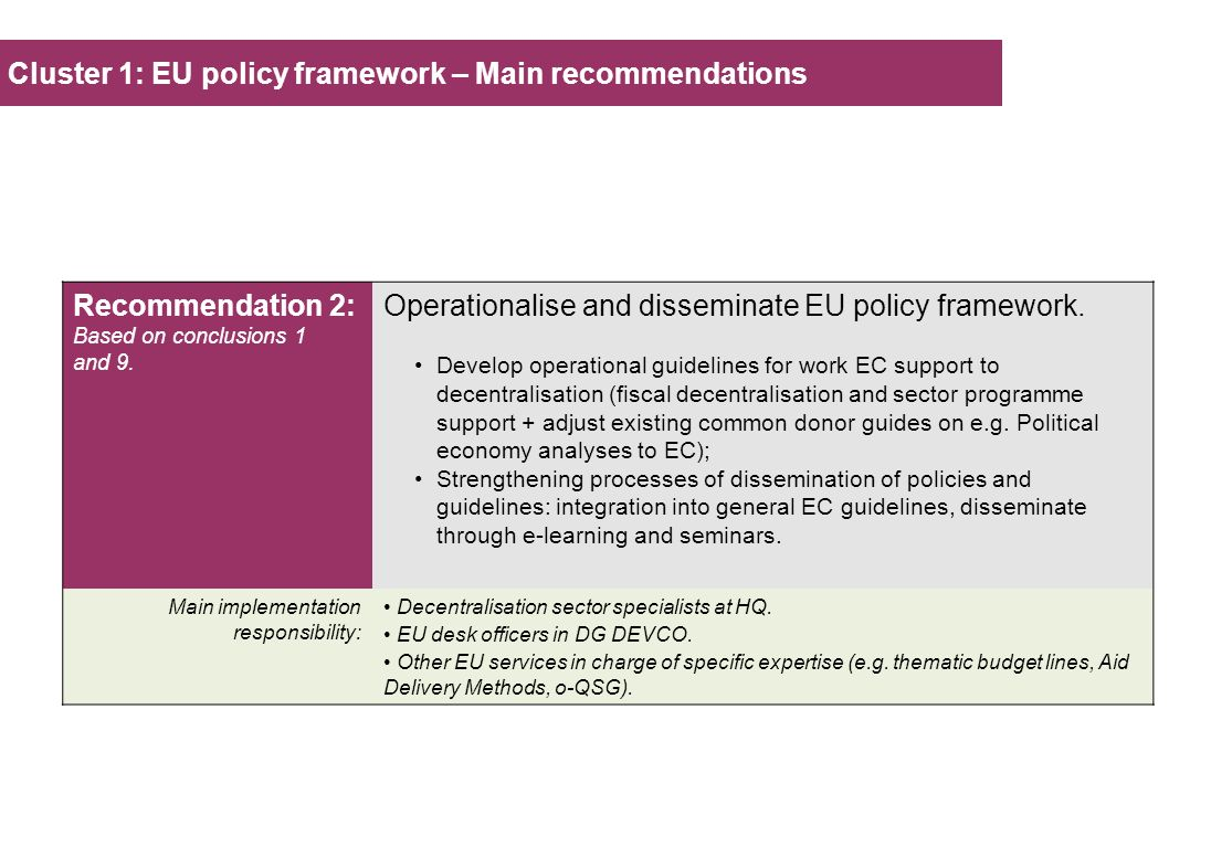 Cluster 1: EU policy framework – Main recommendations Recommendation 2: Based on conclusions 1 and 9. Operationalise and disseminate EU policy framewo