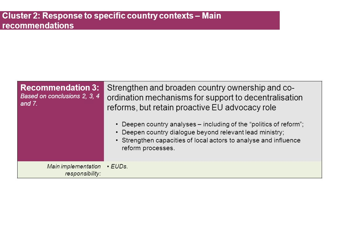 Cluster 2: Response to specific country contexts – Main recommendations Recommendation 3: Based on conclusions 2, 3, 4 and 7. Strengthen and broaden c