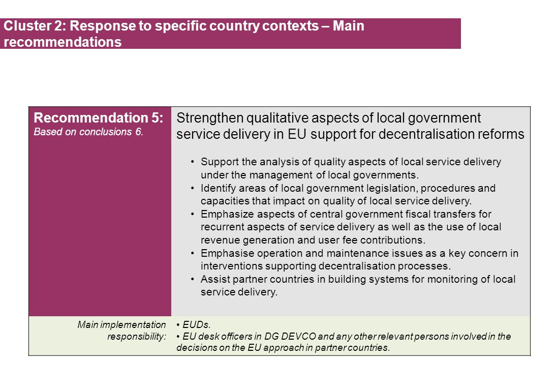Cluster 2: Response to specific country contexts – Main recommendations Recommendation 5: Based on conclusions 6.