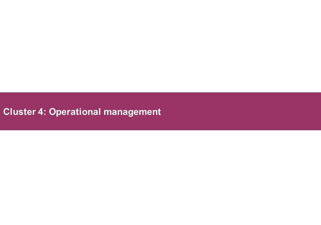 Cluster 4: Operational management