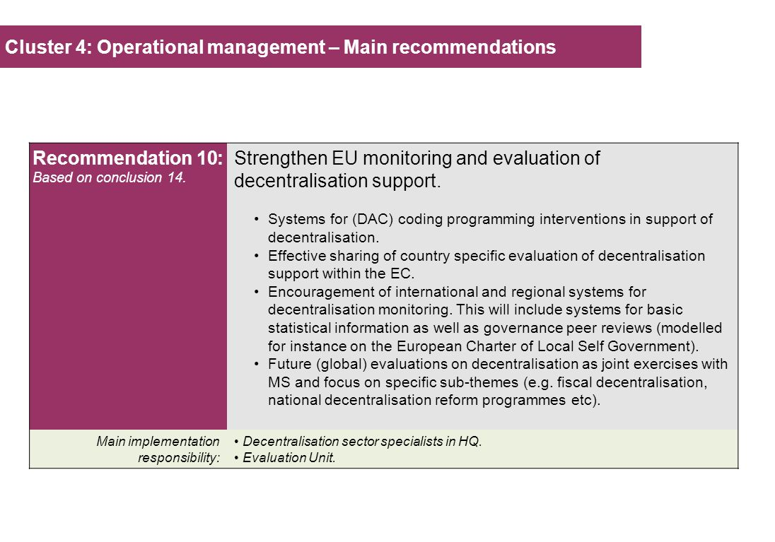 Cluster 4: Operational management – Main recommendations Recommendation 10: Based on conclusion 14. Strengthen EU monitoring and evaluation of decentr