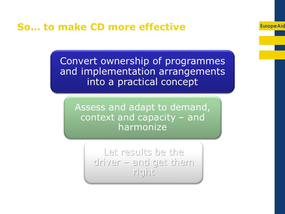 EuropeAid So… to make CD more effective Convert ownership of programmes and implementation arrangements into a practical concept Assess and adapt to demand, context and capacity – and harmonize Let results be the driver – and get them right