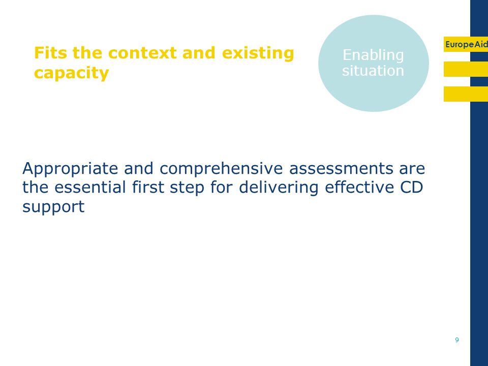 EuropeAid 9 Fits the context and existing capacity Appropriate and comprehensive assessments are the essential first step for delivering effective CD support Enabling situation