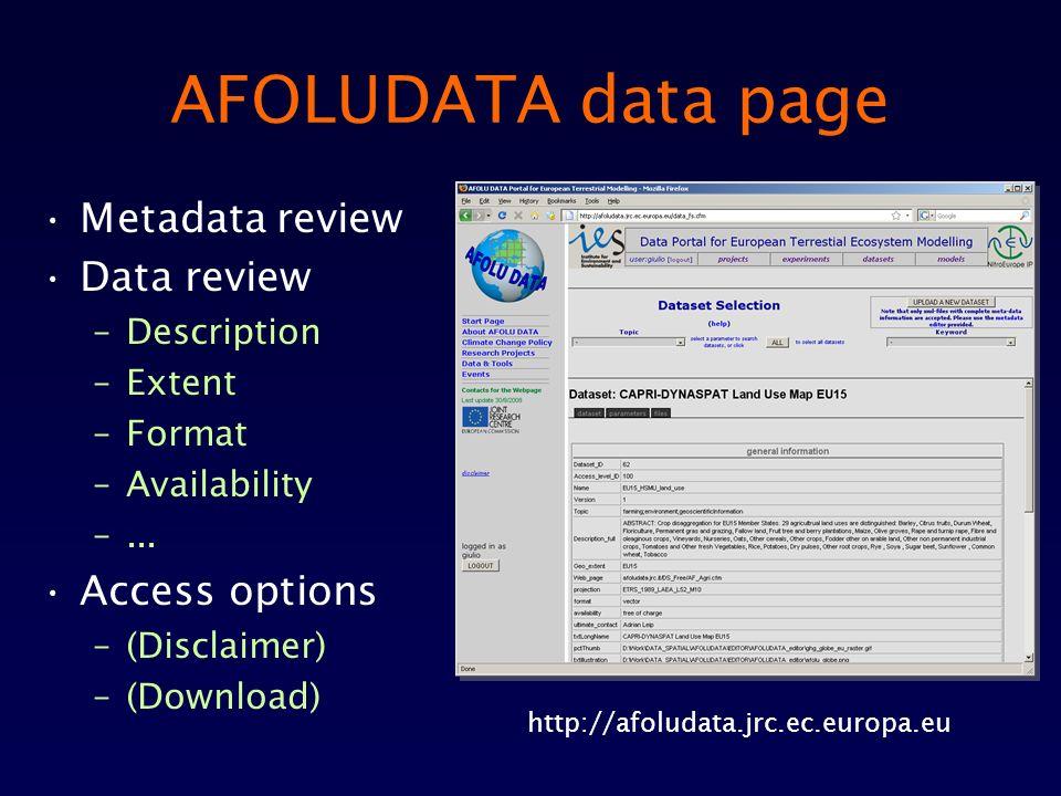 AFOLUDATA data page Metadata review Data review –Description –Extent –Format –Availability –... Access options –(Disclaimer) –(Download) http://afolud
