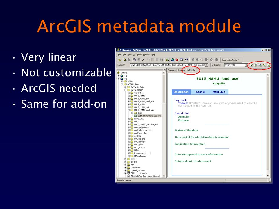 ArcGIS metadata module Very linear Not customizable ArcGIS needed Same for add-on