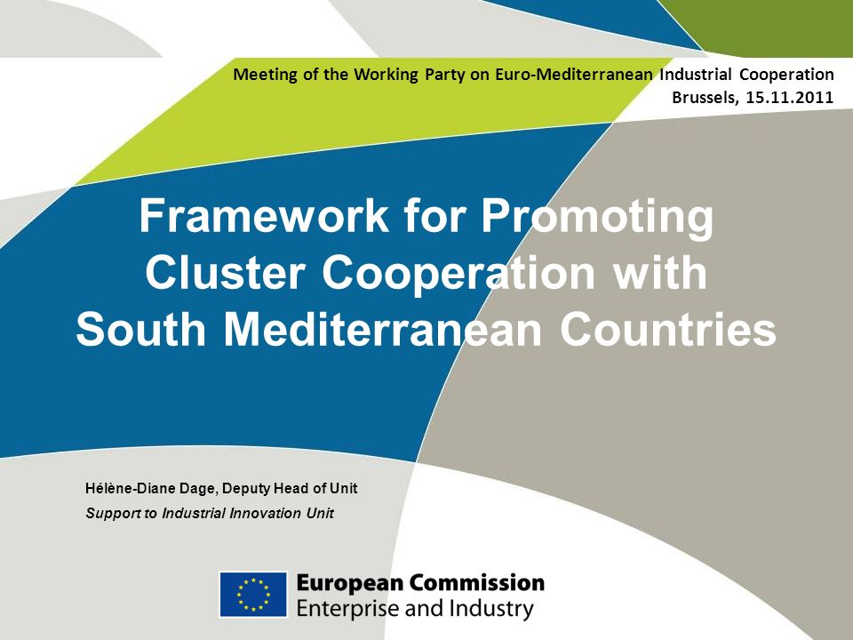 Framework for Promoting Cluster Cooperation with South Mediterranean Countries Hélène-Diane Dage, Deputy Head of Unit Support to Industrial Innovation