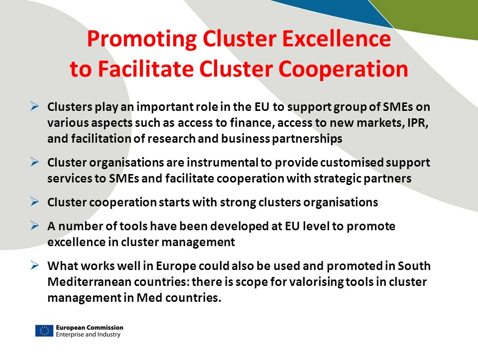 Promoting Cluster Excellence to Facilitate Cluster Cooperation Clusters play an important role in the EU to support group of SMEs on various aspects s