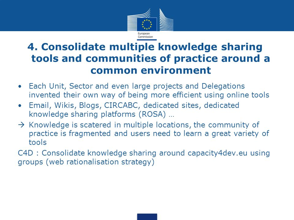 4. Consolidate multiple knowledge sharing tools and communities of practice around a common environment Each Unit, Sector and even large projects and