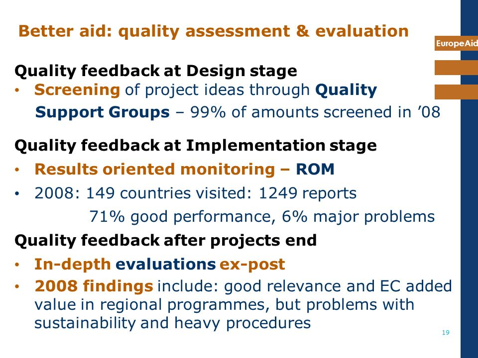 EuropeAid 19 Better aid: quality assessment & evaluation Quality feedback at Design stage Screening of project ideas through Quality Support Groups – 99% of amounts screened in 08 Quality feedback at Implementation stage Results oriented monitoring – ROM 2008: 149 countries visited: 1249 reports 71% good performance, 6% major problems Quality feedback after projects end In-depth evaluations ex-post 2008 findings include: good relevance and EC added value in regional programmes, but problems with sustainability and heavy procedures