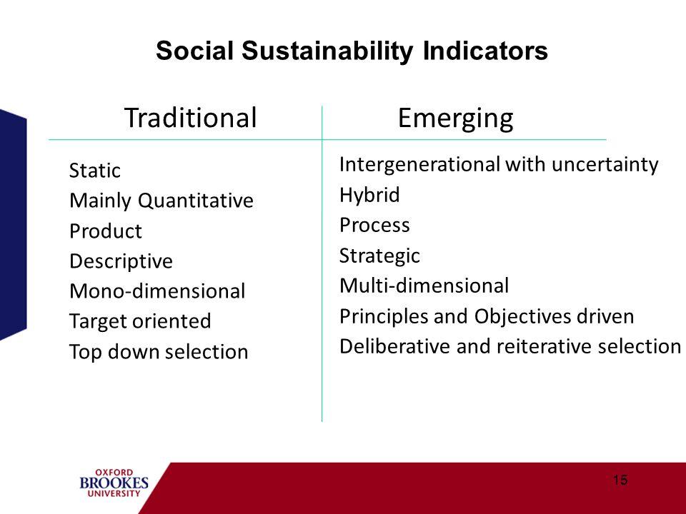15 Social Sustainability Indicators EmergingTraditional Static Mainly Quantitative Product Descriptive Mono-dimensional Target oriented Top down selec