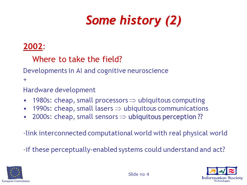 Slide no 4 Some history (2) 2002: Where to take the field.