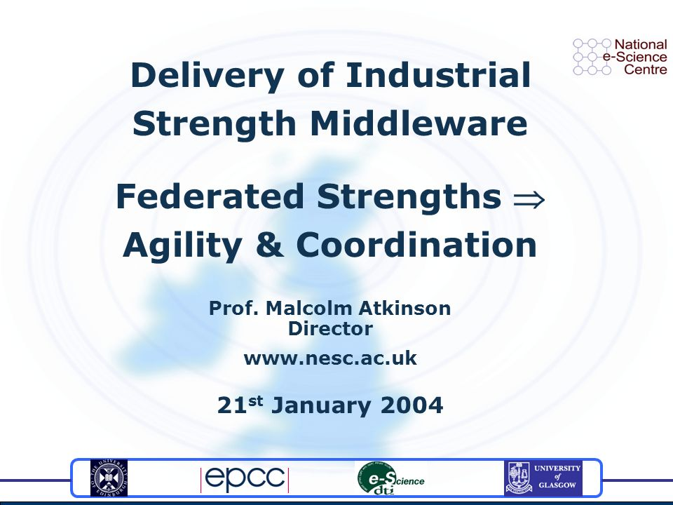 Delivery of Industrial Strength Middleware Federated Strengths Agility & Coordination Prof.